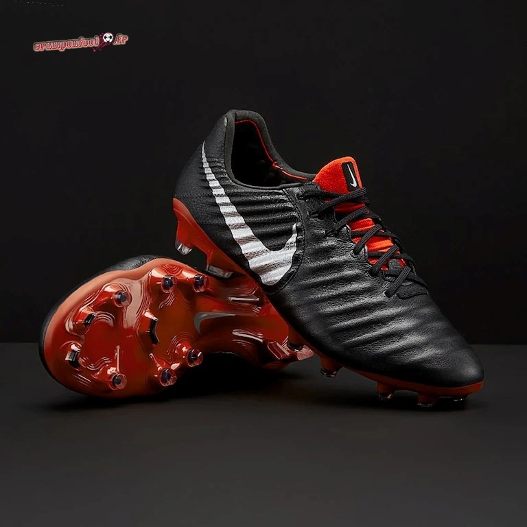 Chaussure Foot Promo - Chaussure Nike Tiempo VII FG Noir Rouge - Crampon de Foot