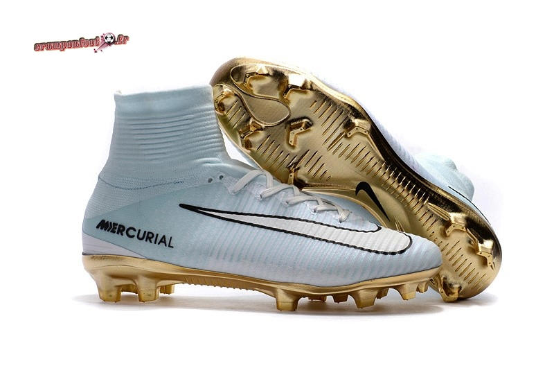 Offres Chaussure Nike Mercurial Superfly CR7 FG Blanc Or - Meilleur Chaussures de Foot