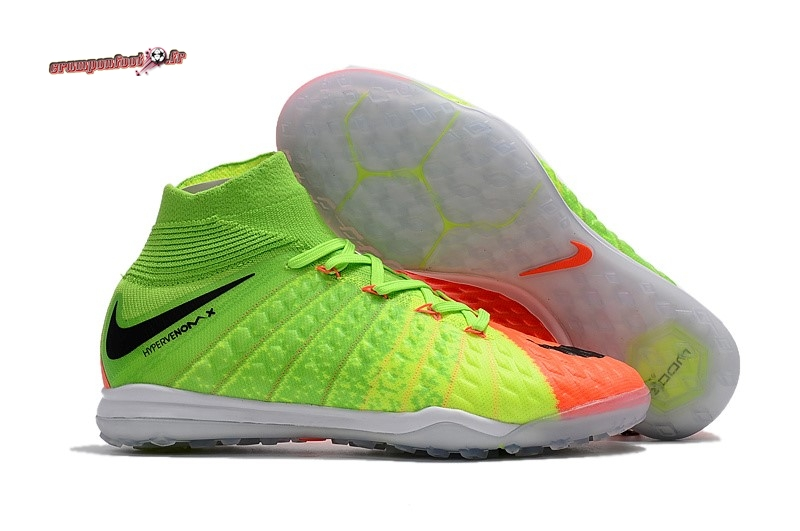 Remise Chaussure Nike HypervenomX Proximo II DF TF Orange Vert - Chaussures de Foot