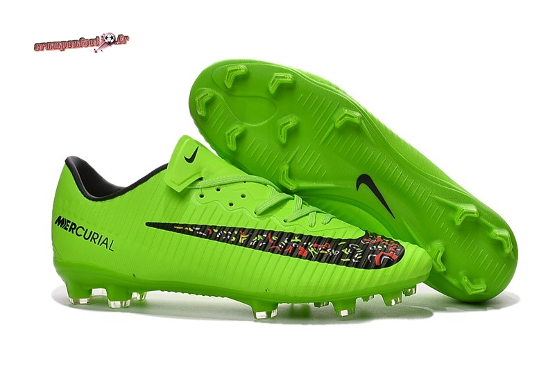 Site Crampons Foot - Chaussure Nike Mercurical Victory VI TPU FG Multicolore Vert Chaussure de Foot Salle