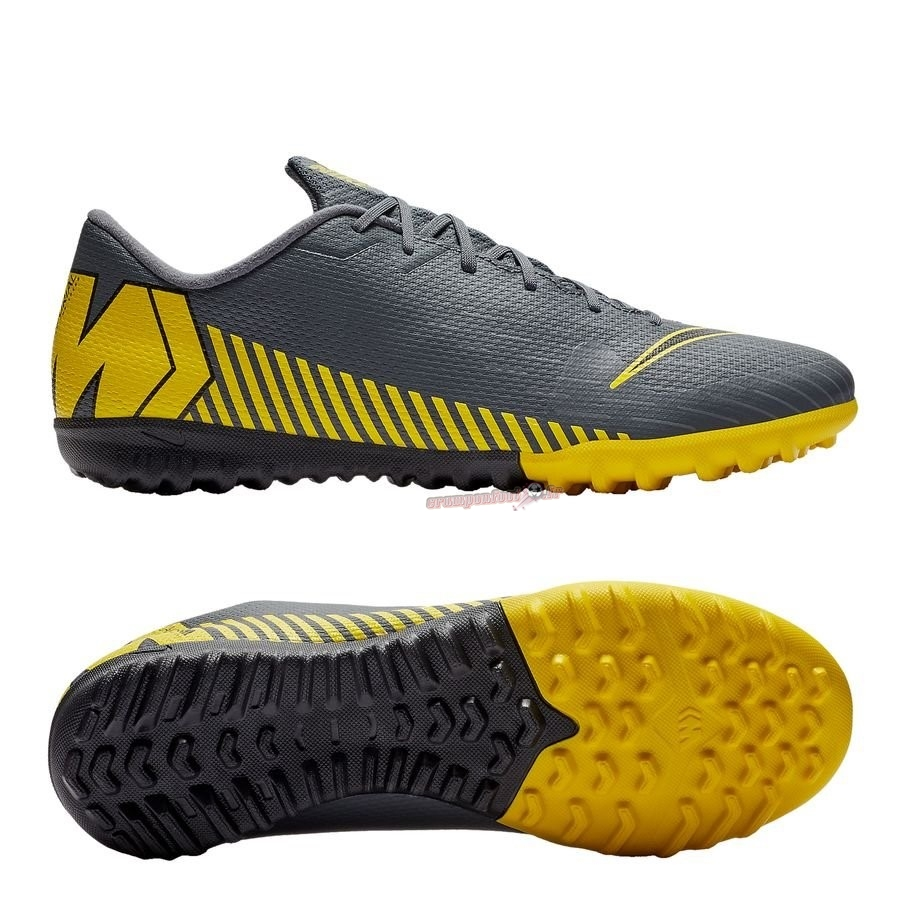 Vente Chaussure Nike Mercurial VaporX 12 Academy TF Game Over Gris Jaune Chaussure de Foot Salle