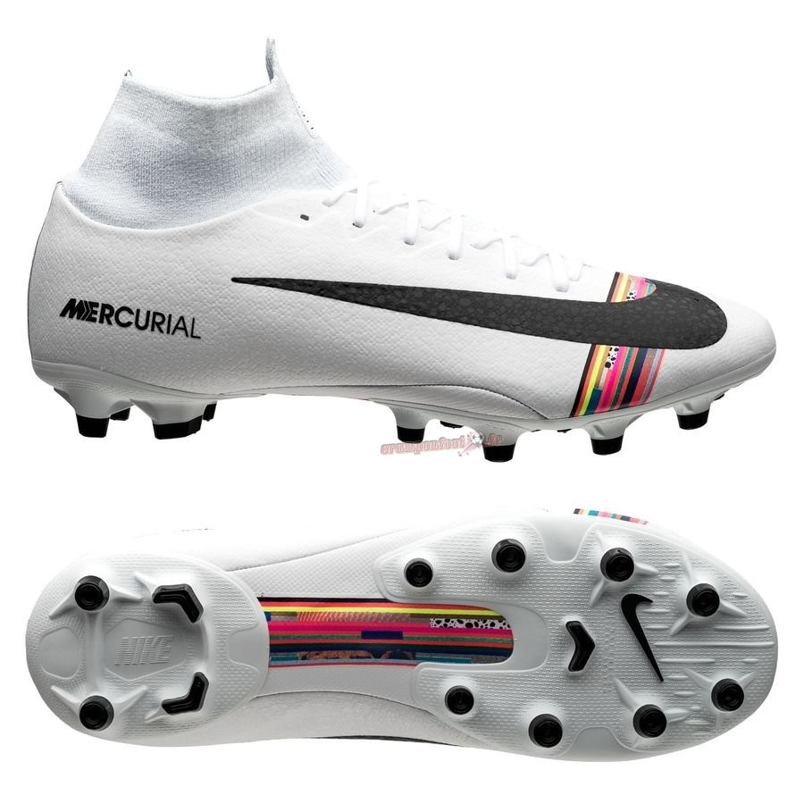 Destockage - Chaussure Nike Mercurial Superfly 6 Pro AG PRO LVL UP Blanc - Chaussures de Foot