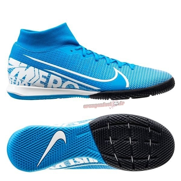 Chaussure Foot Promo - Chaussure Nike Mercurial Superfly 7 Academy IC Bleu Chaussure de Foot Salle