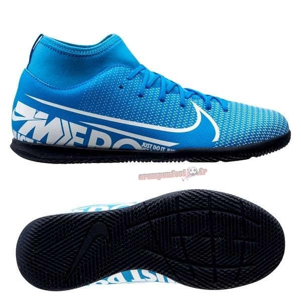 Site Crampons Foot - Chaussure Nike Mercurial Superfly 7 Club IC Bleu Noir Chaussure de Foot Salle