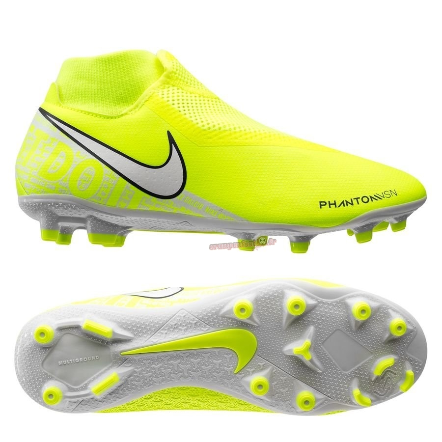 Vente Chaussure Nike Phantom Vision Academy DF MG Jaune Chaussure de Foot Salle