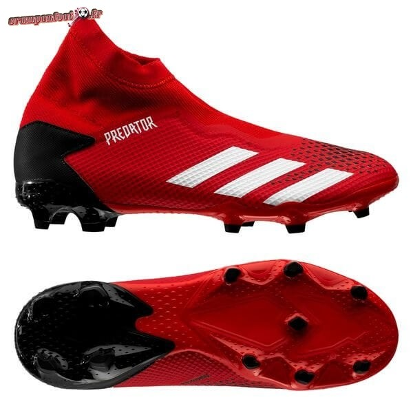 Chaussure Foot Promo - Chaussure Adidas Predator 20.3 Laceless FG/AG Rouge Blanc Noir Pas Cher