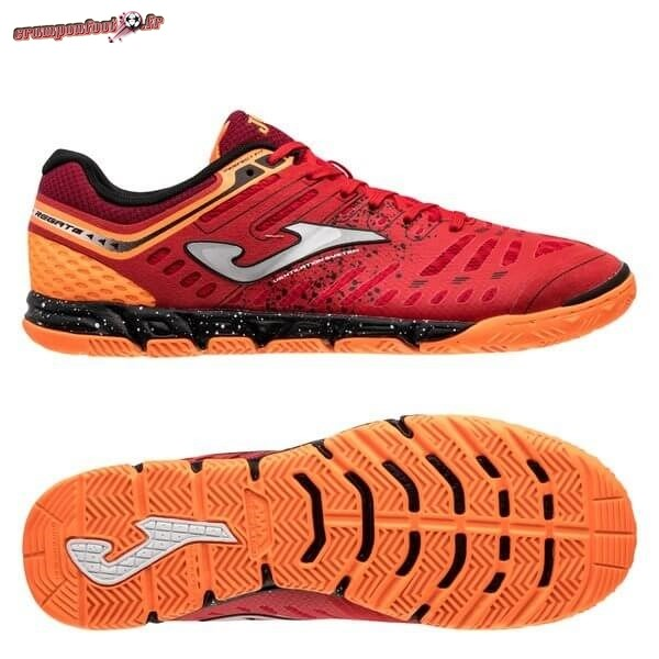 Hot Chaussure Joma Regate Femme IN Rouge Orange Chaussure de Foot Salle