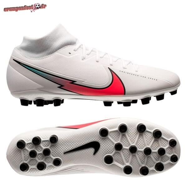 Offres Chaussure Nike Mercurial Superfly 7 Academy AG Flash Crimson Blanc - Meilleur Chaussures de Foot