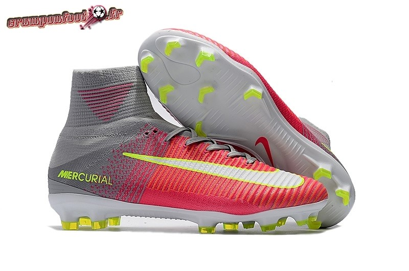 Acheter Chaussure Nike Mercurial Superfly V FG Gris Rouge Jaune Chaussure de Foot Salle