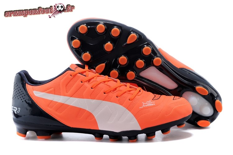 Buy Chaussure Puma evoPOWER AG Noir Orange Blanc - Crampon de Foot