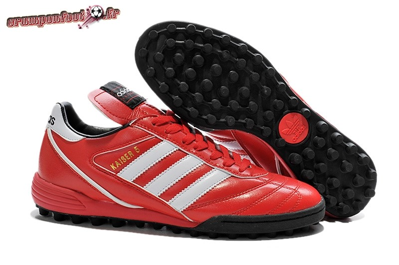 Chaussure Foot Promo - Chaussure Adidas Kaiser 5 TF Rouge Blanc - Crampon de Foot