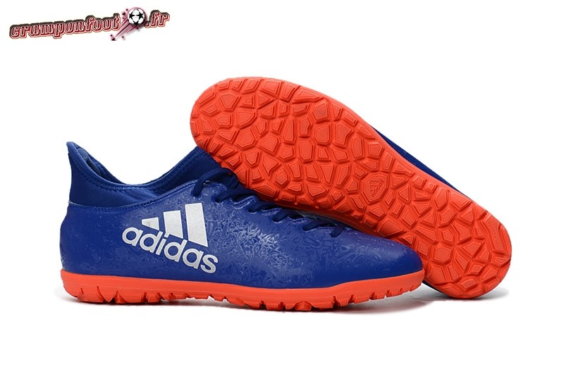 Chaussure Foot Promo - Chaussure Adidas X 16.3 TF Bleu Orange Pas Cher