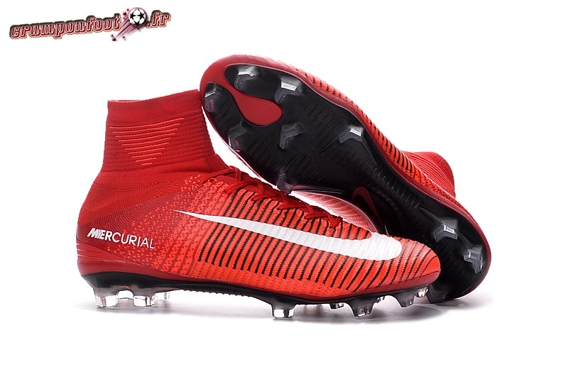 Chaussures de Foot - Chaussure Nike Mercurial Superfly FG Rouge Blanc - Crampon de Foot