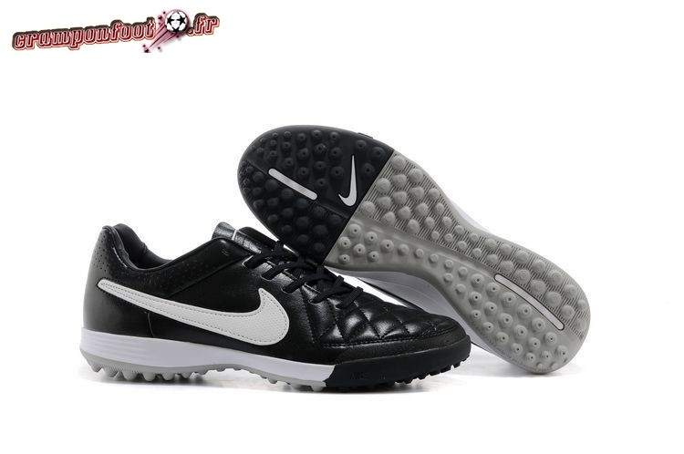 Chaussures de Foot - Chaussure Nike Tiempo Legacy V TF Noir Noir Blanc Blanc Chaussure de Foot Salle