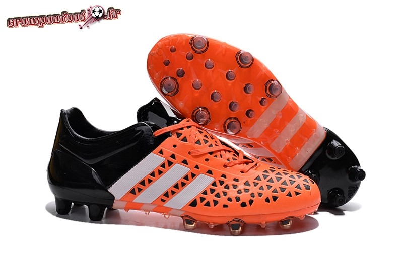 Destockage - Chaussure Adidas Ace 15.1 AG Orange Noir - Crampon de Foot