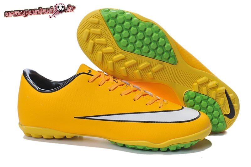 Offres Chaussure Nike Mercurial X Victory TF Jaune Blanc - Crampon de Foot