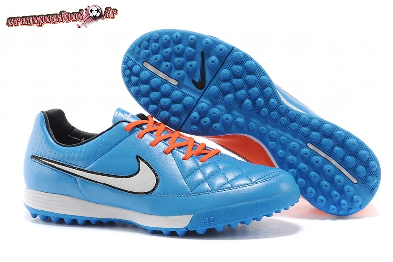 Offres Chaussure Nike Tiempo Mystic V TF Bleu Rouge Chaussure de Foot Salle