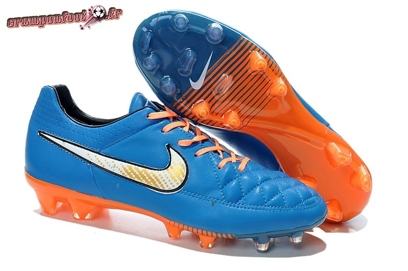 Site Crampons Foot - Chaussure Nike Tiempo Legend V FG Bleu Orange En Solde