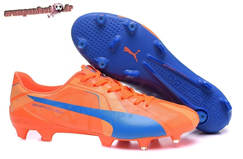Site Crampons Foot - Chaussure Puma evoPOWER FG Bleu Orange En Solde