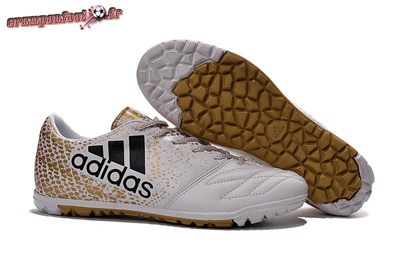 Soldes Chaussure Adidas X 16 TF Blanc Or - Chaussures de Foot