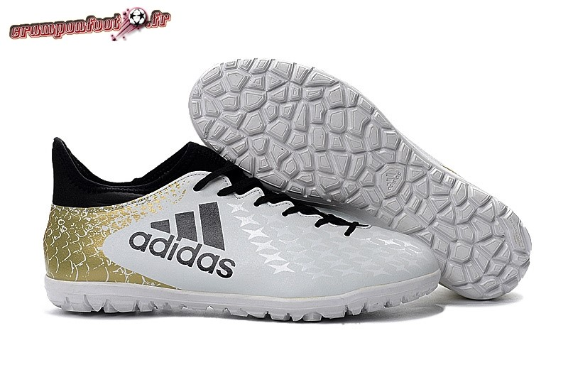 Soldes Chaussure Adidas X 16.3 Femme TF Blanc Or En Solde