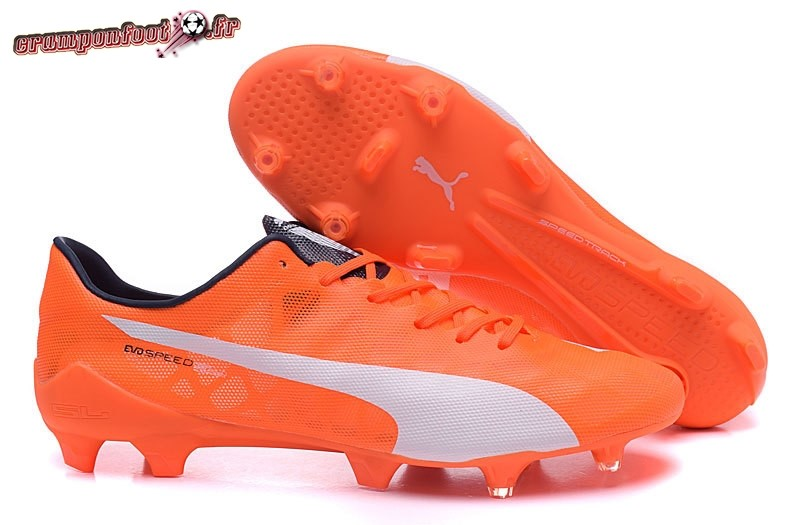 Vente Chaussure Puma evoPOWER FG Orange Blanc En Solde